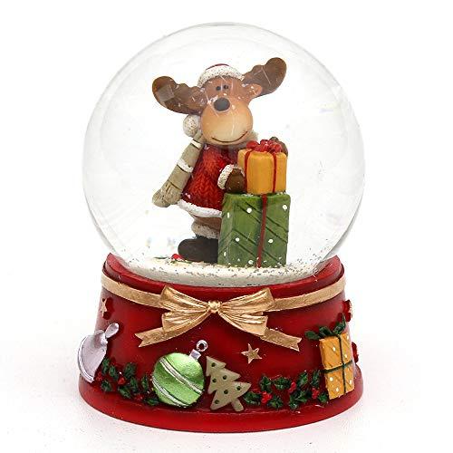 Dekohelden24 Schneekugel mit Elch und roter Sockel, Maße L/B / H: 7 x 7 x 8,5 cm Kugel Ø 6,5 cm.