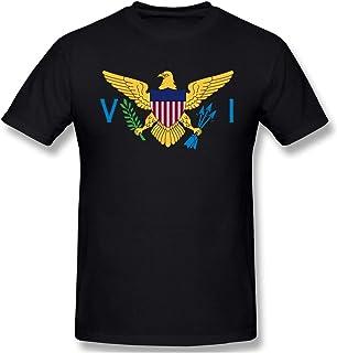 Camiseta de algodón de manga corta casual básica de la bandera de las Islas Vírgenes de los Estados Unidos