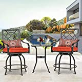 """Crownland 3-Piece Outdoor Bistro Bar Set, 2 Patio Metal Swivel Cushioned Stools and High 39"""" Square Slatted Tabletop Bar Table with Umbrella Hole"""
