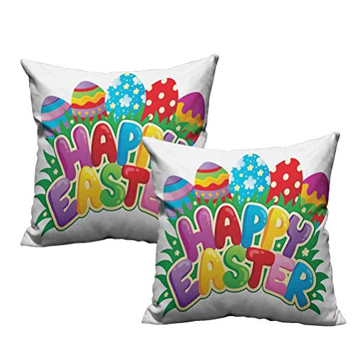 2 Piece Throw Pillow Cushion Cover Cartoon Style Ornamental Eggs with Polka Dots Flowers and Stripes Happy Easter Quote 22'x22',Machine Washable