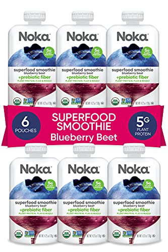 NOKA Superfood Pouches (Blueberry Beet) 6 Pack |...