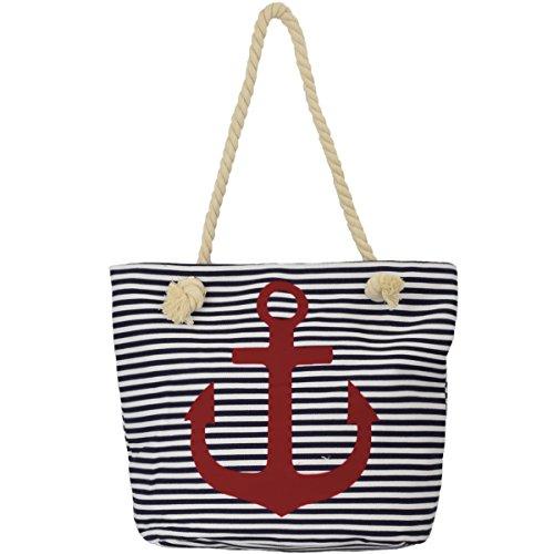 Sonia Originelli Shopper Strandtasche Kordel Seil Streifen Anker Anchor Maritim T021-AN-RV...