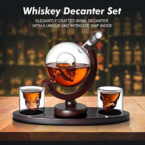 YMYGCC Whiskey Decanter Set Schädel Wodka Globe-Karaffe mit 2 Gläsern Getränkespender mit Holzständer for Bar Bourbon (Color : Transparent)