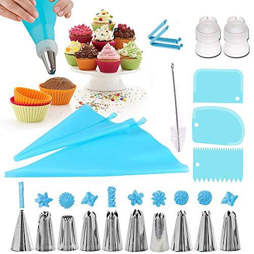 Douilles Pâtisserie, 20 Pièces en Acier Inoxydable DIY Kits, 10 Douilles, 2 poche à douille en silicone 2 Coupleurs, 3 cornes et peignes à gâteau, 2 adaptateurs, Brosse, Cupcakes et Cookies (bule)