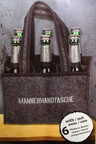 Kamaca Flaschentasche für 6 Bierflaschen Flaschenträger Flaschenkorb zum Transport von Glas Flaschentasche aus Filz mit Stickerei perfekte Geschenkidee für Männer (Männerhandtasche)