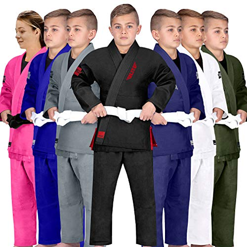 Elite Sports Kids BJJ GI, Youth IBJJF Children's Brazilian Jiujitsu Gi Kimono W/Preshrunk Fabric & Free Belt (See Special Sizing Guide) (Premium Black, C1)