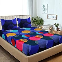 LeeFab India Glace Cotton King Size Double Bedsheet (Multi_Set of 1 Bedsheet and 2 Pillow Covers) (choice01)