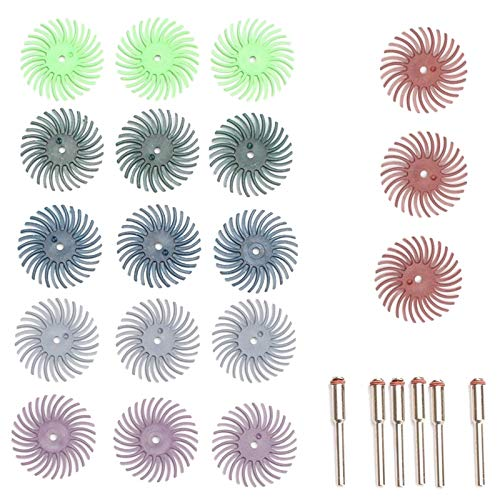 Ctzrzyt Kit de Cepillo Abrasivo de Disco de Cerdas Radiales de 24 Piezas (VáStago de 1/8 de Pulgada) para Herramienta Rotativa Grano Mixto 80120220400600 1000