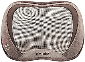 HoMedics 3D Shiatsu and Vibration Massage Pillow with Heat, Full-Body Relaxation Targets Upper and Lower Back, Neck, and Shoulders, Integrated Controls, Comfortable Padding, Lightweight for Travel