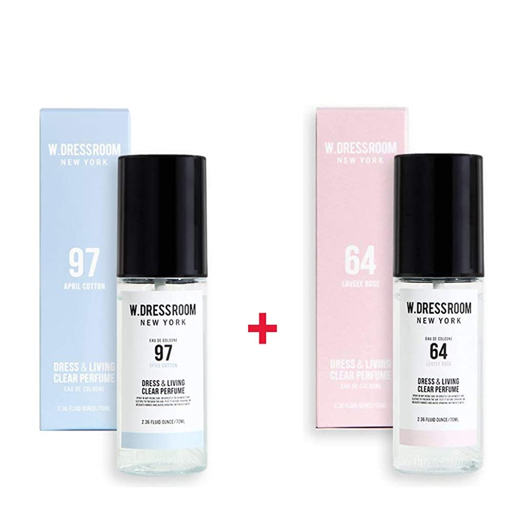 リスク脚噂W.DRESSROOM Dress & Living Clear Perfume 70ml (No 97 April Cotton)+(No 64 Lovely Rose)