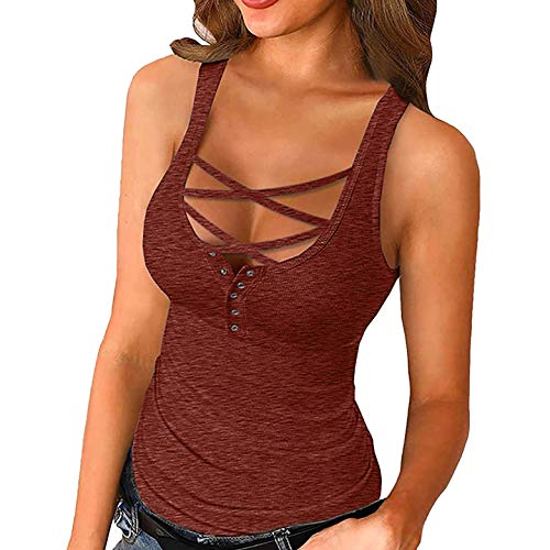 Camiseta de tirantes para mujer, sexy, sin hombros, ajustada, de punto, sin mangas, blusas, jersey básico, para verano, camiseta de punto C-rojo. S