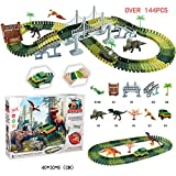 ACOC 3D Electric Track Dinosaur Forest DIY Assembly Toy Set Simulation Dinosaur Forest Scene High-Speed Rail Train 3-10 Years Kids Puzzle Large-Scale Adventure,144PCS