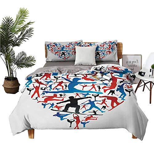 Juego de ropa de cama de 4 piezas de la serie de textiles para el hogar, impresión digital 3D, colcha de acción deportiva, siluetas de corazón, con forma de corazón, tiro con...