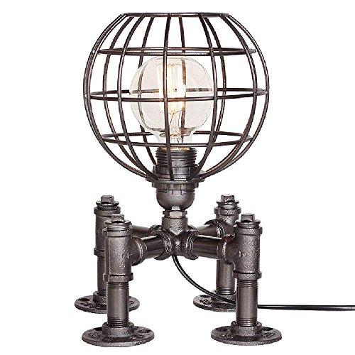 WOF Modeen Edison Industrielampen Vintage Tischlampe Rohr Lampe Wasserrohr Industrie E27 Tischleuchte Retro Steampunk Handwerk Tischleuchte(Dimmable) [Energieklasse A+++] (Farbe : SCHWARZ)
