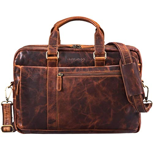STILORD 'Nico' Large Shoulder Bag Leather Men Women XL Laptop Bag 15.6 inches/College Bag/Portfolio/Shoulder Bag/Satchel/Business Bag Genuine Leather, Colour:Kara - Cognac