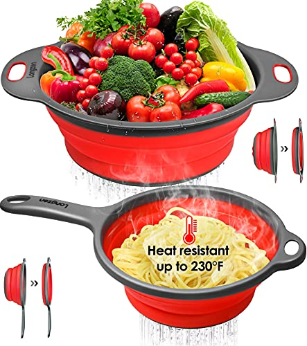 """longzon Collapsible Silicone Colanders and Strainers [2 Piece Set], Diameter Sizes 8'' - 2 Quart and 9.5"""" - 3 Quart, Pasta Vegetable/Fruit Kitchen Mesh Strainers with Extendable Handles Red and Grey"""