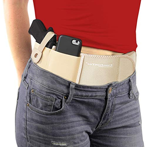 ComfortTac Ultimate Belly Band Gun Holster for Concealed Carry | Compatible with Smith and Wesson, Shield, Glock 19, 17, 42, 43, P238, Ruger LCP, and Similar Guns, for Men and Women (Nude, L , Right)
