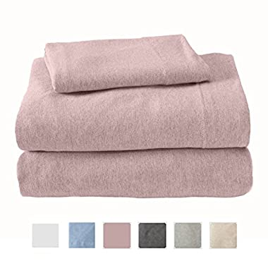 Great Bay Home Extra Soft Heather Jersey Knit (T-Shirt) Cotton Sheet Set. Soft, Comfortable, Cozy All-Season Bed Sheets. Carmen Collection By Brand. (Queen, Rose Quartz)