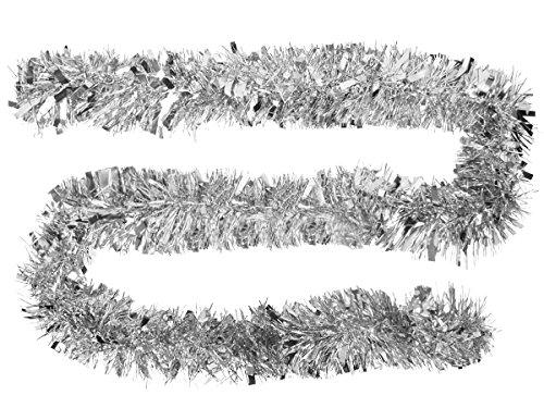 Lametta Girlande Partygirlande Partydeko Raumdekoration 2 Meter Baumschmuck Weihnachtslametta von ALSINO, Variante wählen:P516033S silber