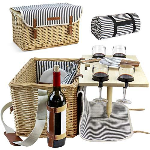 HappyPicnic Picknickkorb für 4 Personen, Picknick Set mit Tisch und Picknick Decke, Weiden Geschenkkorb Set für Camping, Picknick und Outdoor Party