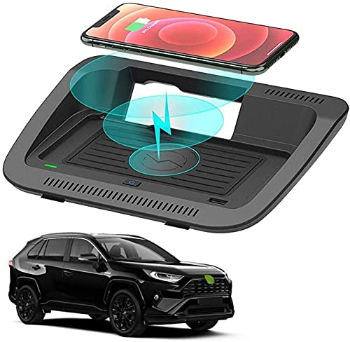 QXIAO Cargador Inalámbrico para Automóvil Compatible con Los Accesorios Toyota RAV4 con Volante a La Izquierda para (2019-2021) XLE/XLE Hybrid/XLE Premium Cargador Inalámbrico Rápido de 10W