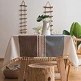Deggodech Mantel de Mesa Cuadrado Antimanchas Lavable Mantel de Lino de Algodón de Borlas Manteles Mesa Rectangular Tela para Decoración de la Mesa de Comedor (Cafe & Azul, 140 * 140cm/55 * 55inch)