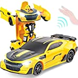 Yellow Body Super Large 33cm Remote Autobots Sports Car 1/12 Coche de Juguete eléctrico 10 años Regalo de cumpleaños para niños (Coche Inteligente)