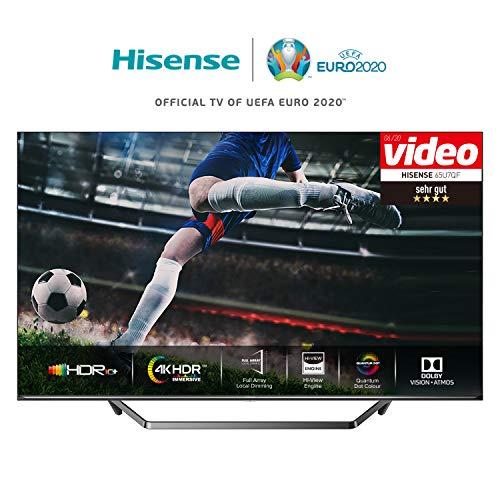 Hisense 55U7QF 139 cm (55 Zoll) Fernseher (ULED, UHD, Quantum Dot, HDR 10+, DolbyVision, DolbyAtmos, Smart-TV, Local Dimming, WCG, USB-Recording, Ultra Slim Design, Mittelstandfuß) [Modelljahr 2020]