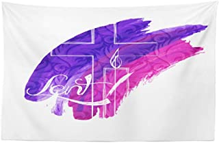 Watercolor Jesus Wall Tapestry,Tapestry Wall Art Abstract Symbols Purple Watercolor Cross and Candle with Wall Tapestry for Bedroom Living Room Dorm Decor 45x30 Inches, Abstract Symbols