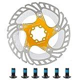 Alomejor Rotores de Disco de Freno 180 mm Disco de Freno de Bicicleta de Acero Inoxidable Rotores de 6 Pernos para Bicicleta de Carretera Bicicleta de montaña BMX MTB(Gold)