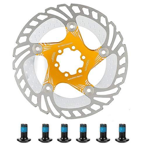 Fahrrad Scheibenbremse 180mm Edelstahl Fahrrad Bremsscheibe mit 6 Schrauben für Rennrad Mountainbike BMX(Golden)