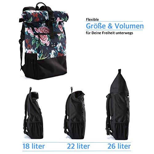 Ela Mo's Rucksack Damen   Schön und Durchdacht   für Uni Reisen Freizeit Job   mit Laptopfach & Anti Diebstahl Tasche   Blumen - 6
