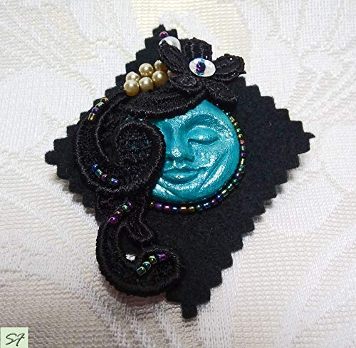 Cameo Beadwork Jewelry Art Deco Large Beauty products Blue Brooch Face Black New arrival Moo