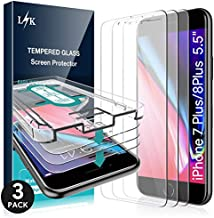L K [3 Pack] Screen Protector for iPhone 7 Plus/iPhone 8 Plus 5.5'', [Installation Kit Included] Tempered Glass 9H Hardness, Scratch-resistant, Case Friendly
