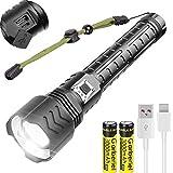 WholeFire XHP90 Lampe de Poche LED Ultra Puissante 12000 lumens, 5 Modes Rechargeable par USB Super Lumineuse Lampe Torche avec Zoom pour Camping, Sport en Plein Air, Piles Incluses