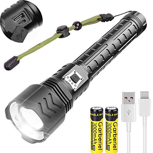 WholeFire XHP90 Linterna LED Super Brillante de 12000 Lúmenes, 5 Modos Recargable por USB, Potente Linterna con Zoomable para Acampar al Aire Libre, Deportes y Baterías Incluyen