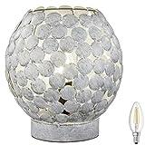 Lámpara de mesa E14 m. Interruptor de cuerda, estilo retro, lámpara de mesita de noche, lámpara vintage, incluye LED (gris)