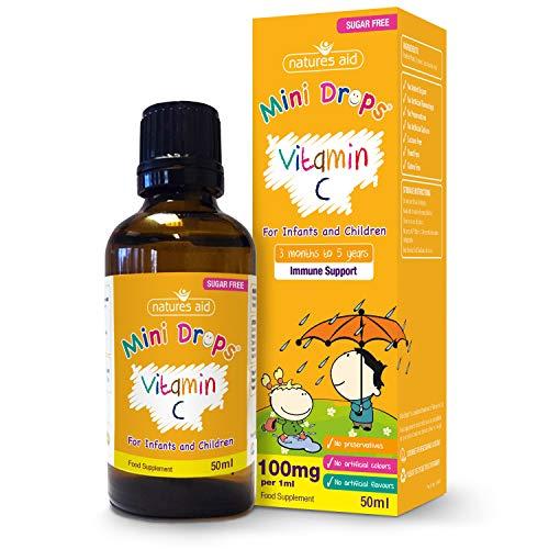 Natures Aid Vitamin C Mini Drops for Infants and Children, Immune Health, Sugar Free, 50 ml