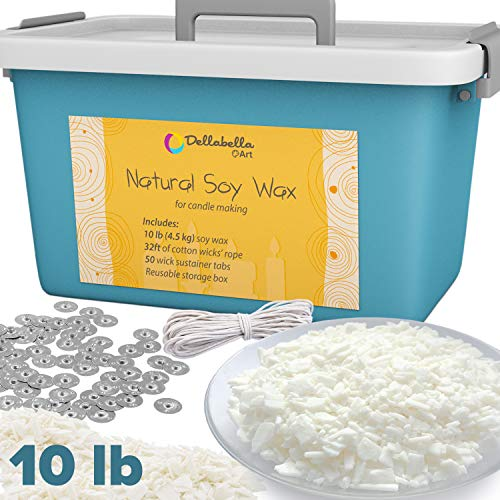 Dellabella Art Soy Wax Candle Making Set - Includes 10 LB Organic Wax Flakes, Cotton Wick Rope and Sustainer Tabs - Compatible with Color Dye or Essential Oil - Safe, Natural and Cruelty-Free