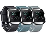 [3 Pack] Silicone Bands Compatible with Fitbit Blaze Bands for Women Men, Replacement Sport Wristband for Fitbit Blaze Smart Fitness Watch, Not Included Blaze and Frame (Large, Slate, Gray, Black)
