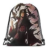 Chezaskee Anime Naruto Uchiha Itachi Bolsas con cordón Clásico Hombres y Mujeres Deportes Mochila Bolsa de Almacenamiento Viaje Playa Bolsa
