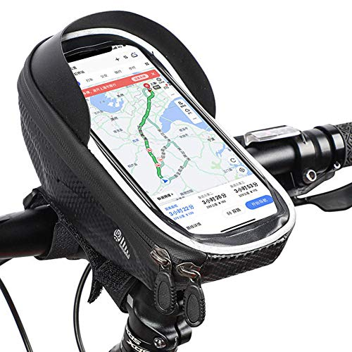 Lhh Bike Frame Bag, Waterproof Bicycle Accessories with Eva Pressure-Resistant Handlebar Bag TPU Touch Screen Sun Visor Suitable for Smartphones Under 6.5 Inches