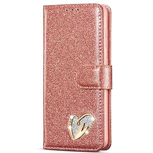 Blllue Funda tipo cartera compatible con Samsung J7 2017, Bling Glitter Diamond Hardware Love PU Funda de cuero para Galaxy J7 2017, oro rosa
