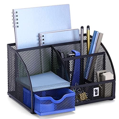 Mesh Desk Organizers Keep Office Supplies in 1 Place - Desktop Organizer, Office Organizer for Desk - Office Supplies, Desk Organizer – Black/Blue