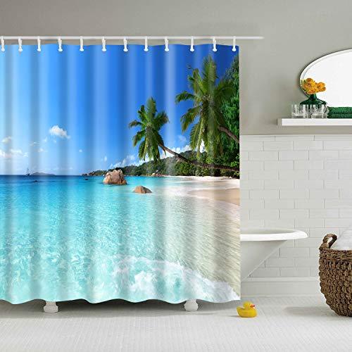 N / A Cortina de Ducha de Playa Impresión de paisajes Modernos Baño Azul Cortina de Ducha Opaca 3D Cortina de Ducha Impermeable y Resistente al Moho A19 180x200cm