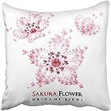 Moily Fayshow Fundas de Cojines Sakura Rosa Flores de Origami de Japón en Forma de pájaros voladores Símbolo japonés Rojo Travel Papercraft Funda de Almohada 45 X 45 cm