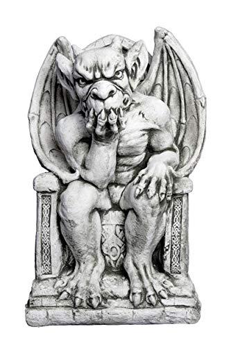 gartendekoparadies.de Massive Steinfigur Gargoyle der Herrscher auf Thron Torwächter Teufel aus Steinguss frostfest