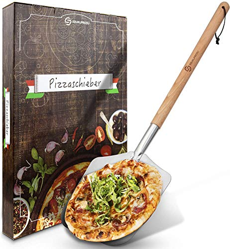 SQUALIPRODU® Pizzaschieber - Pizzaschaufel aus rostfreiem Edelstahl und Buchenholz - stabiles Gewinde & robuster Holzstab - extra lang - entgratet - Schlaufe zum Aufhängen