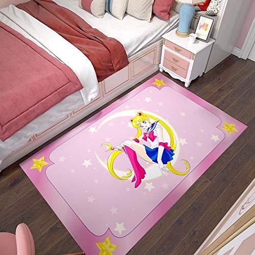 Anime Teppich, Sailor Moon: Tsukino Usagi, 3D-Kristall Velvet Teppich, Cartoon Wohnzimmer Schlafzimmer Nachtbodenmatte, 3D-bedruckten Bereich Teppich, Home Decoration ( Color : B , Größe : 160*260cm )