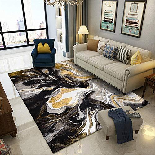 WQ-BBB Pelo Corto Compatible con calefacción Rug Negro Gris Amarillo alfombras Salon decoración Abstracta Ocio Mesa De Centro La Alfombrae 80X160cm